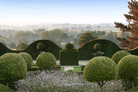 View over Normandy countryside from The Gardens of La Ballue