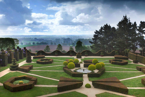 An outstanding view over the countryside from the Chateau de La Ballue's gardens